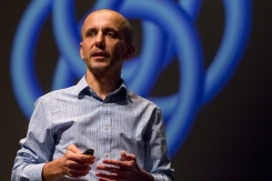"""2018 University of Arizona College of Science Lecture Series featuring Associate Professor of Computer Science, Mihai Surdeanu, presenting """"The Minds of Machines"""" (photo:Bob Demers/UANews)"""