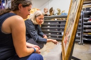 Wendy Lindsey, UA graduate student (l), assists Nancy Odegaard, in the authentication and inspection process of the recovered de Kooning painting. Odegaard is a world-renowned conservator who works at the Arizona State Museum on the UA campus.