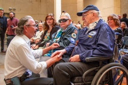 Clarendon Hetrick, 92, of Las Vegas, and Lauren Bruner, 95, of La Mirada, California, are two of the seven living survivors of the bombing attack on the USS Arizona on Dec. 7, 1941, at Pearl Harbor. They were honored guests at the 74th anniversary ceremony on the University of Arizona campus that paid tribute to the 1,177 men who lost their lives aboard the historic battleship.