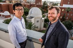 Chi-kwan Chan, left, and Dan Marrone of the University of Arizona Steward Observatory. Chan is a computational astrophysicist working with cutting edge technologies to advance both theoretical and observational research. Marrone studies galaxy clusters and their cosmological applications, the supermassive black hole at the center of our galaxy, the process of star formation, and star forming galaxies in the early universe.