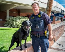 University of Arizona police officer Kyle Morrison and his explosive detecting dog Toby.